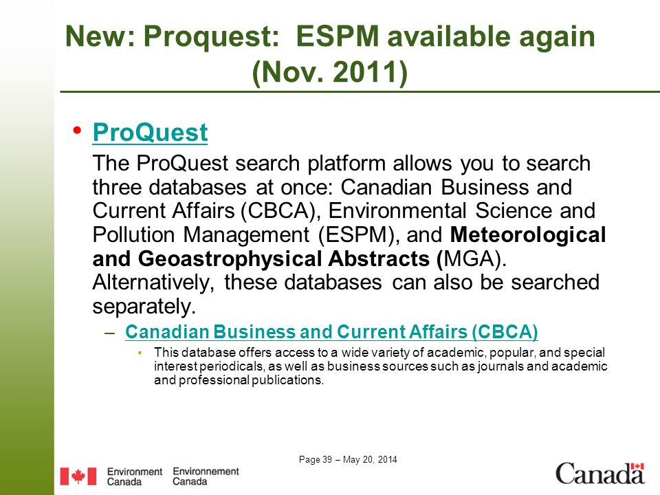 New: Proquest: ESPM available again (Nov. 2011)