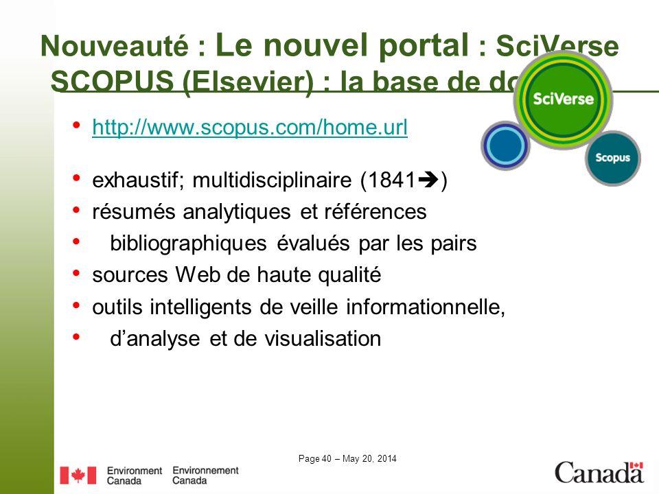 Nouveauté : Le nouvel portal : SciVerse SCOPUS (Elsevier) : la base de données