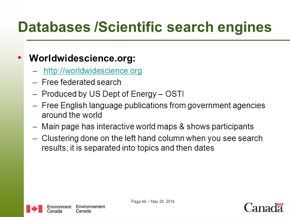 Databases /Scientific search engines