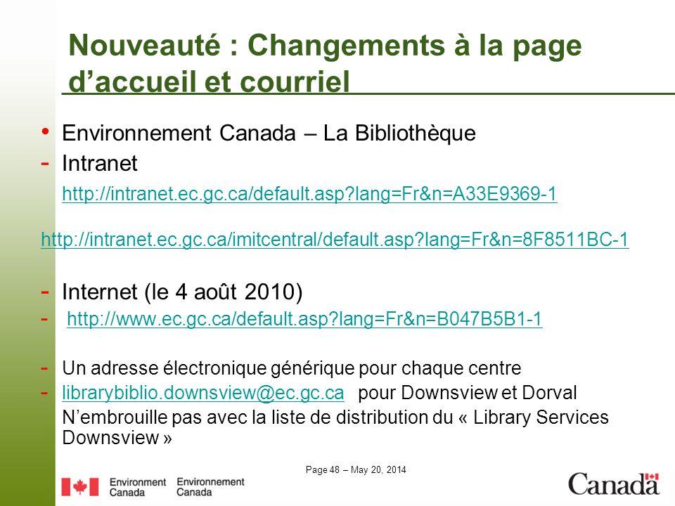 Nouveauté : Changements à la page d'accueil et courriel