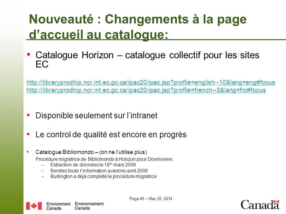 Nouveauté : Changements à la page d'accueil au catalogue: