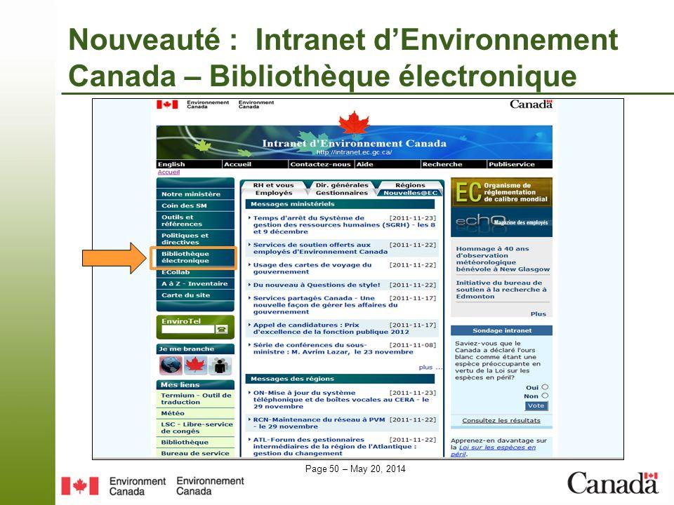 Nouveauté : Intranet d'Environnement Canada – Bibliothèque électronique