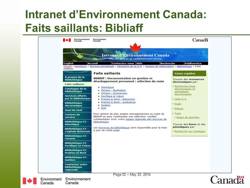 Intranet d'Environnement Canada: Faits saillants: Bibliaff