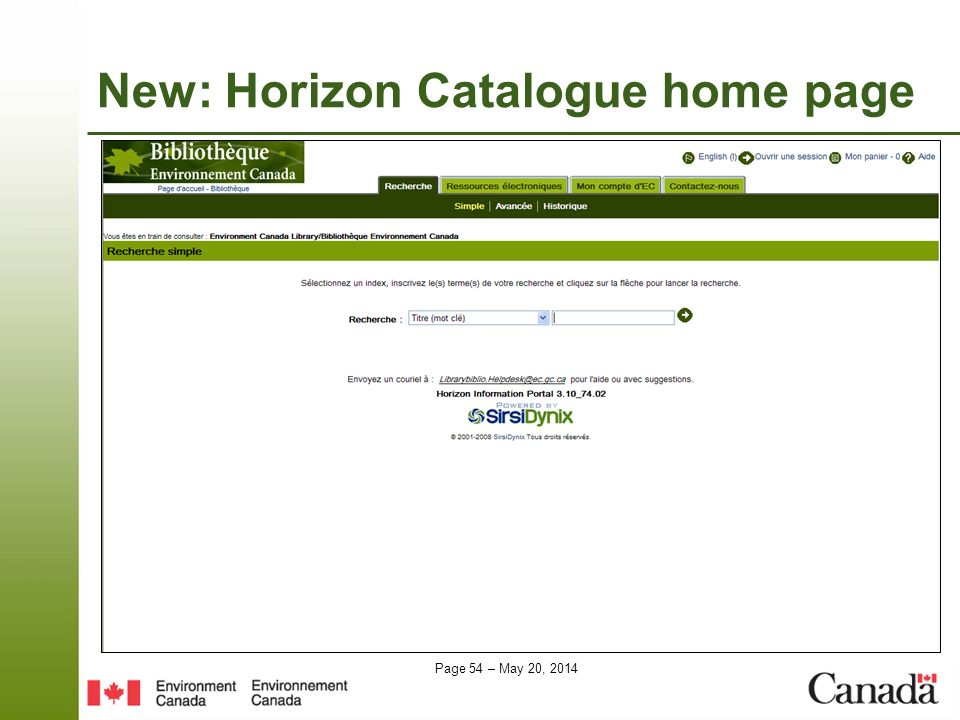 New: Horizon Catalogue home page