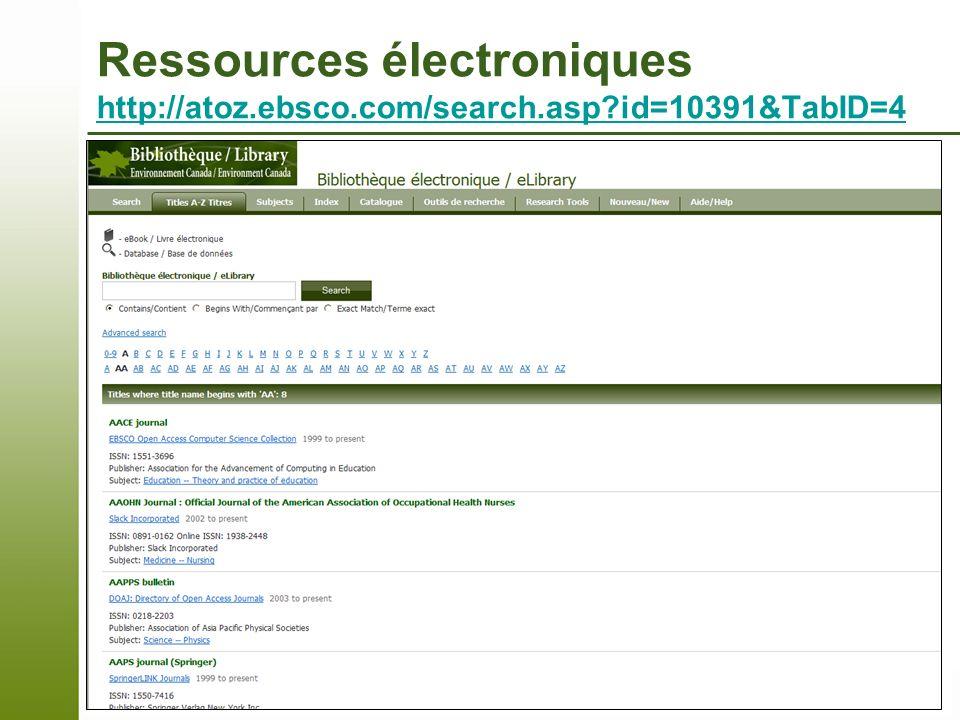 Ressources électroniques http://atoz. ebsco. com/search. asp