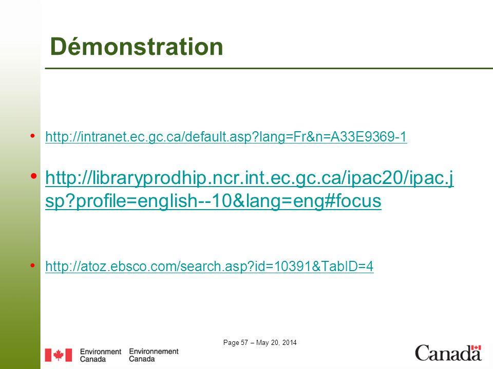 Démonstration http://intranet.ec.gc.ca/default.asp lang=Fr&n=A33E9369-1.