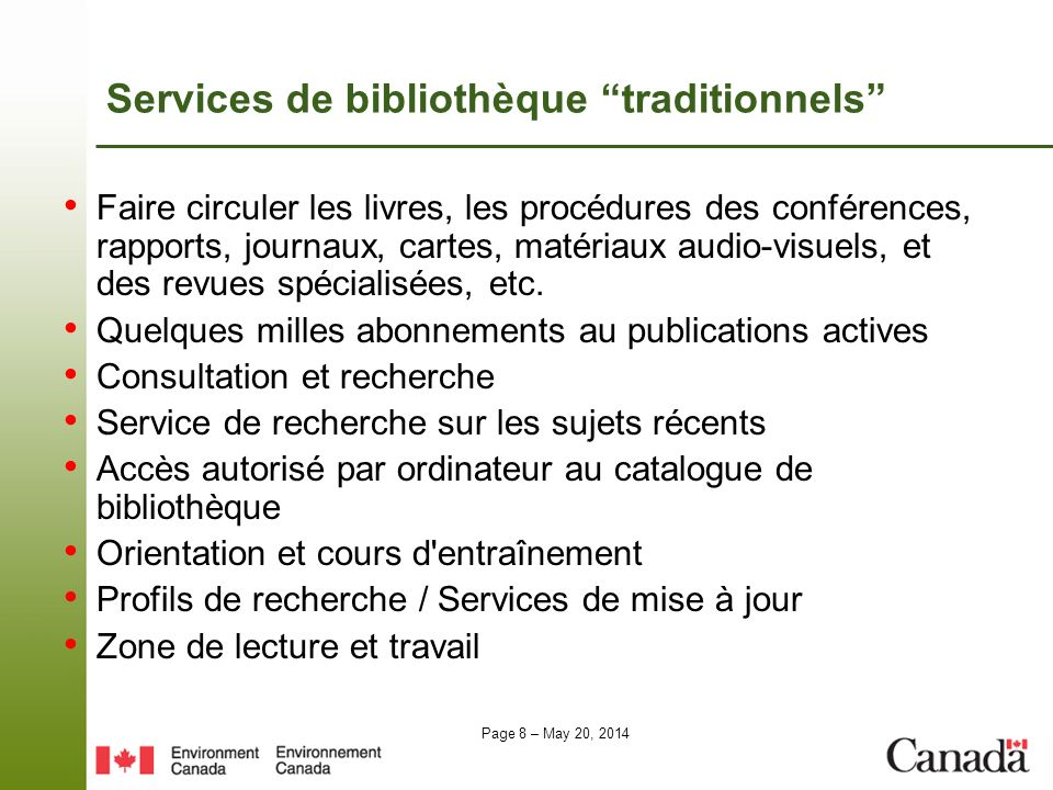 Services de bibliothèque traditionnels