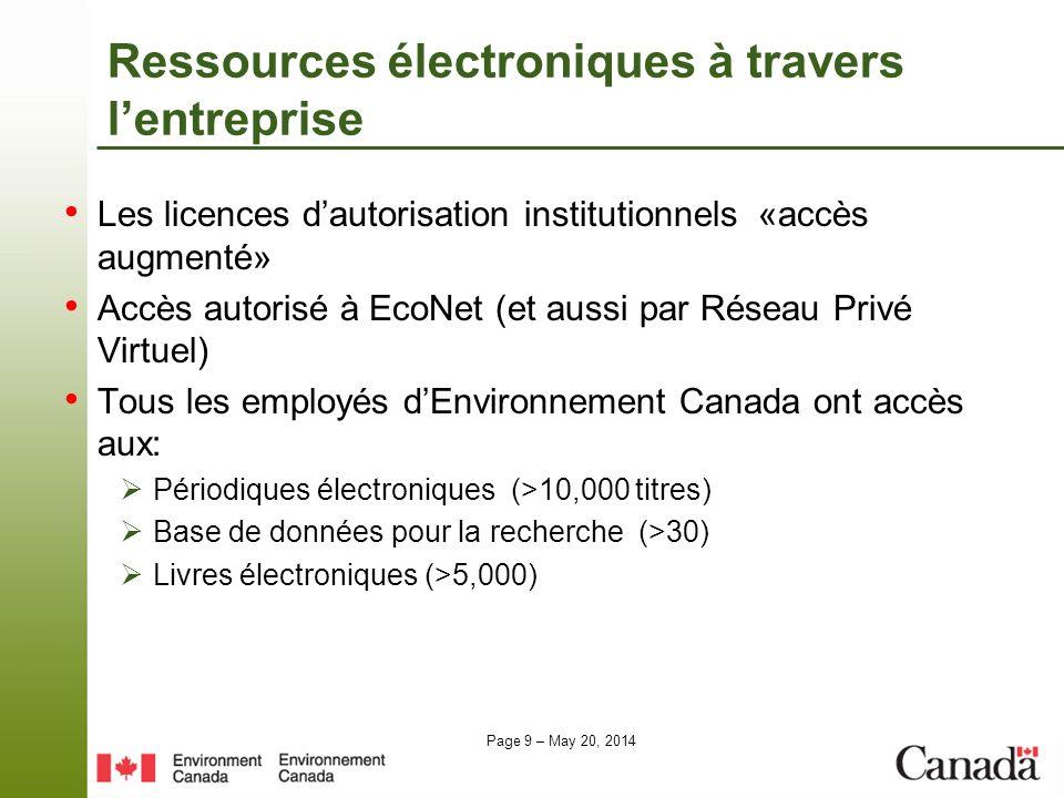 Ressources électroniques à travers l'entreprise
