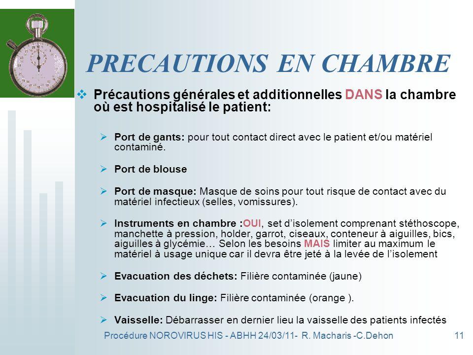 PRECAUTIONS EN CHAMBRE