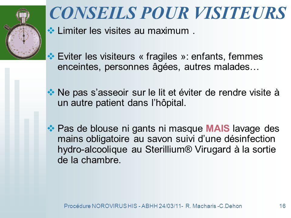 CONSEILS POUR VISITEURS