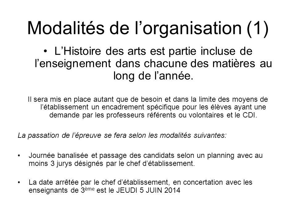 Modalités de l'organisation (1)