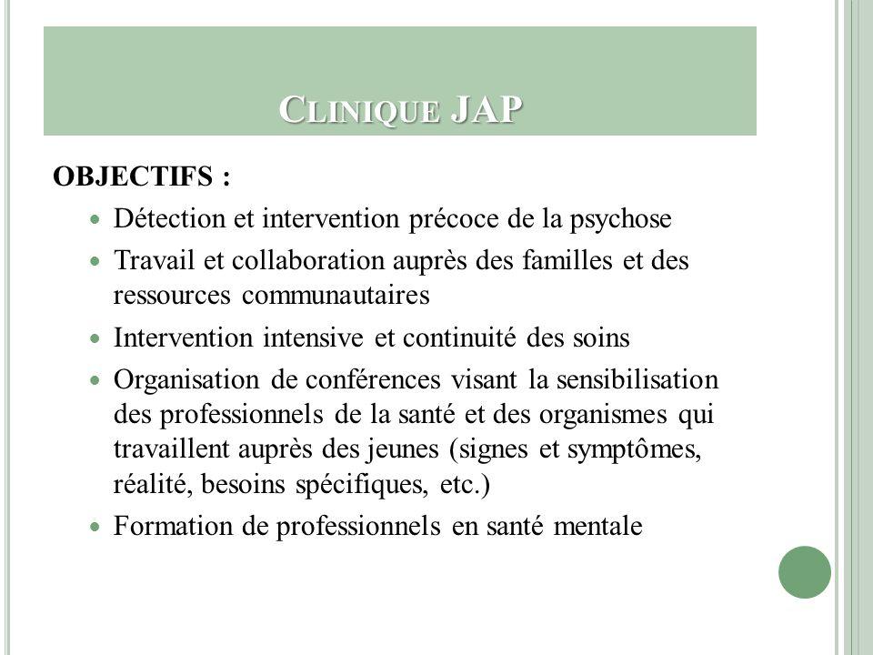 Clinique JAP OBJECTIFS :