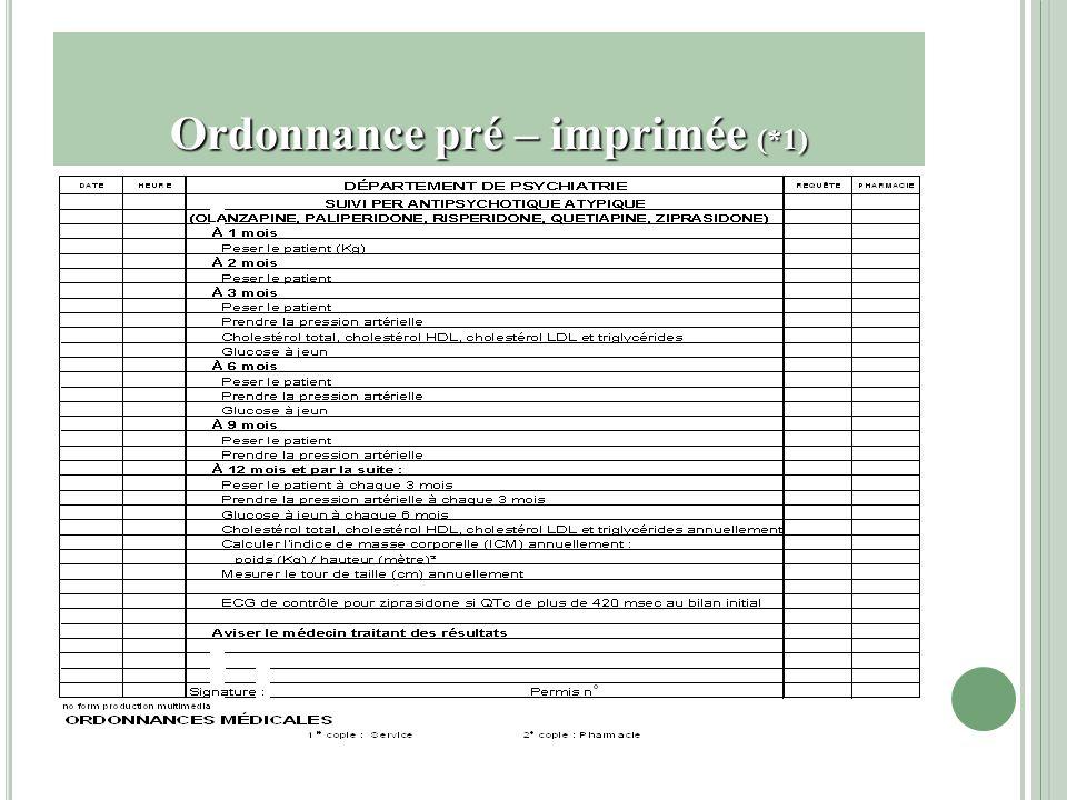 Ordonnance pré – imprimée (*1)