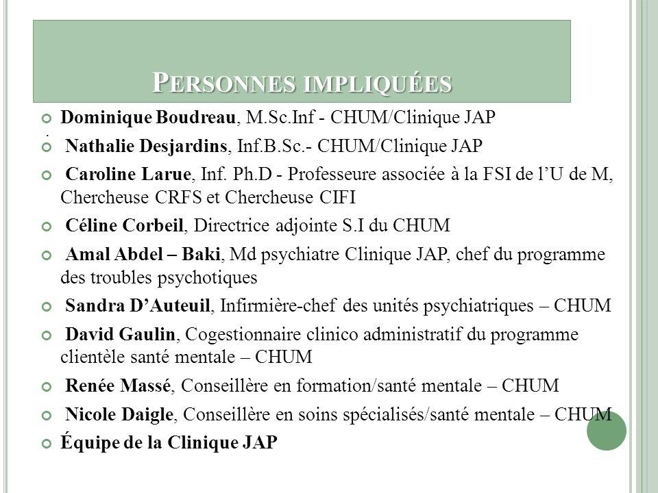 Personnes impliquées Dominique Boudreau, M.Sc.Inf - CHUM/Clinique JAP