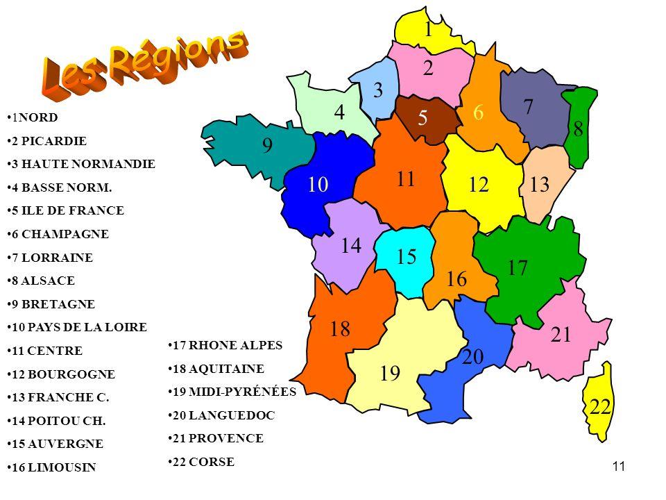 1 Les Régions. 2. 3. 7. 4. 6. 5. 1NORD. 2 PICARDIE. 3 HAUTE NORMANDIE. 4 BASSE NORM. 5 ILE DE FRANCE.