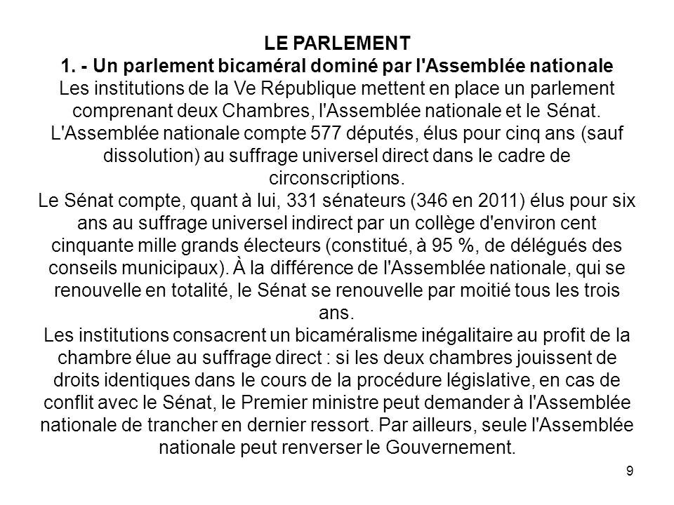 1. - Un parlement bicaméral dominé par l Assemblée nationale