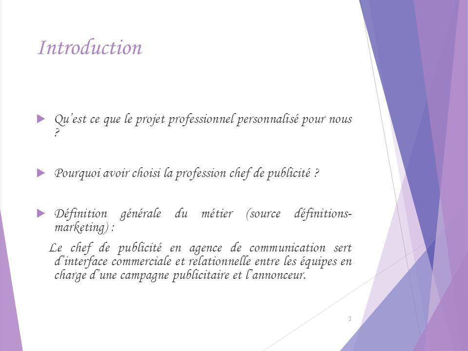 Introduction Qu'est ce que le projet professionnel personnalisé pour nous Pourquoi avoir choisi la profession chef de publicité