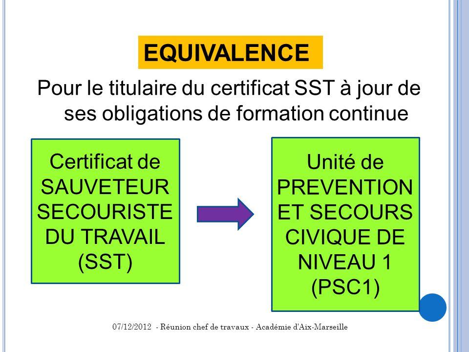 EQUIVALENCE Pour le titulaire du certificat SST à jour de ses obligations de formation continue. Certificat de SAUVETEUR SECOURISTE DU TRAVAIL.