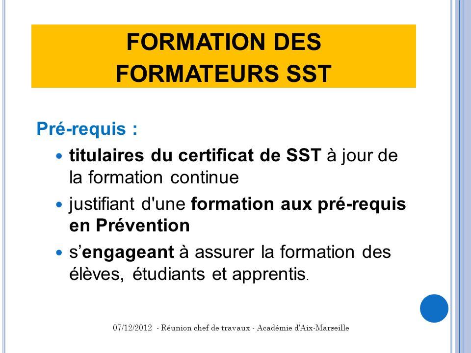 FORMATION DES FORMATEURS SST