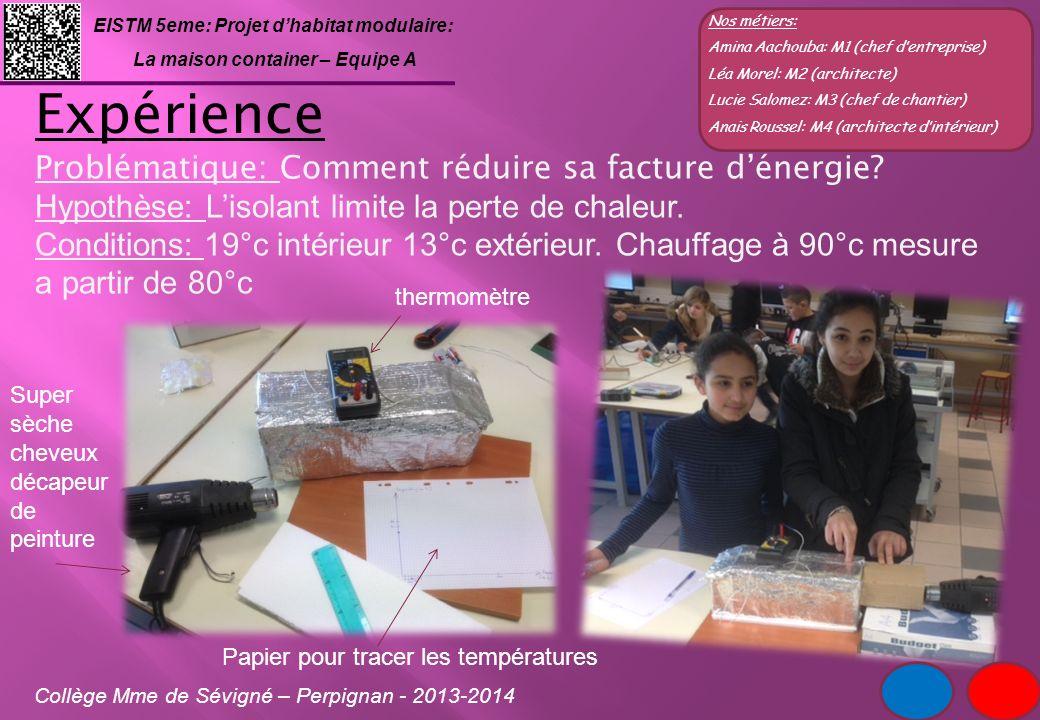 Expérience Problématique: Comment réduire sa facture d'énergie