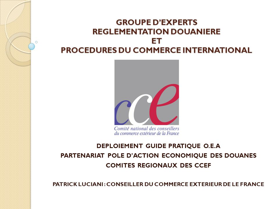 GROUPE D'EXPERTS REGLEMENTATION DOUANIERE ET PROCEDURES DU COMMERCE INTERNATIONAL