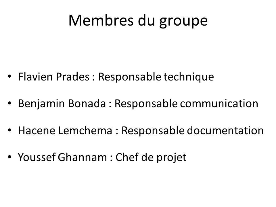 Membres du groupe Flavien Prades : Responsable technique