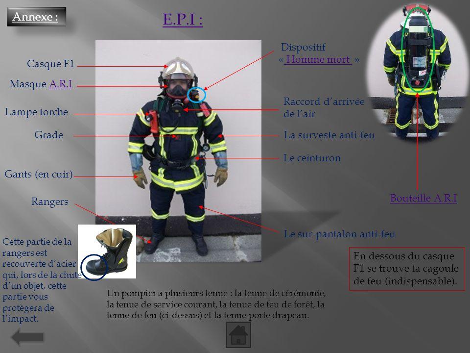 E.P.I : Annexe : Dispositif « Homme mort » Casque F1 Masque A.R.I
