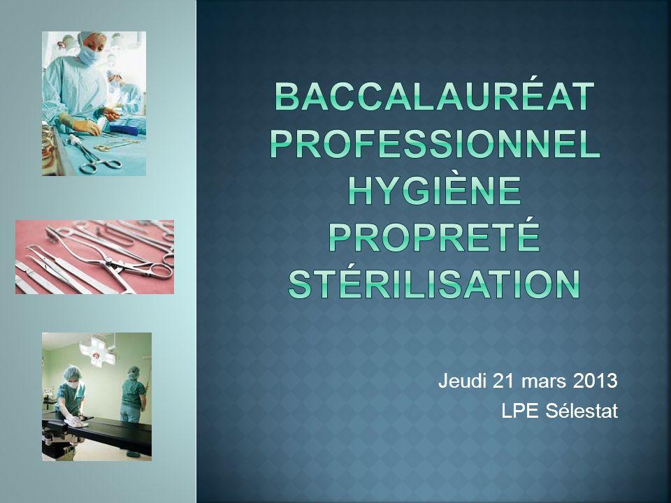 Baccalauréat professionnel hygiène propreté stérilisation