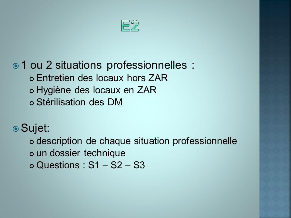 E2 1 ou 2 situations professionnelles : Sujet: