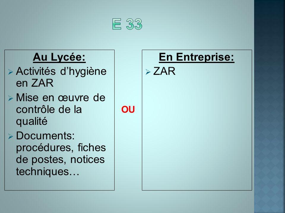 E 33 Au Lycée: Activités d'hygiène en ZAR