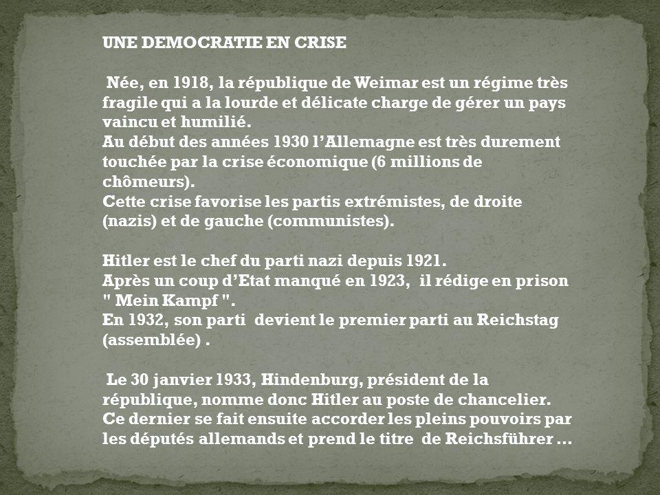 UNE DEMOCRATIE EN CRISE