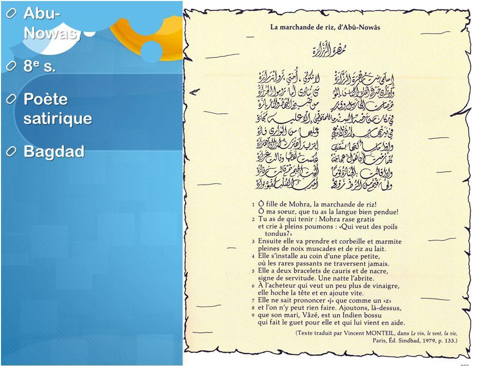Abu- Nowas, 8e s. Poète satirique Bagdad