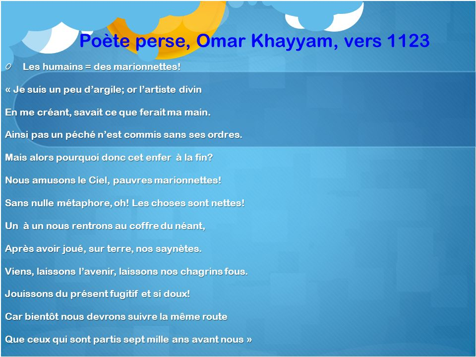 Poète perse, Omar Khayyam, vers 1123