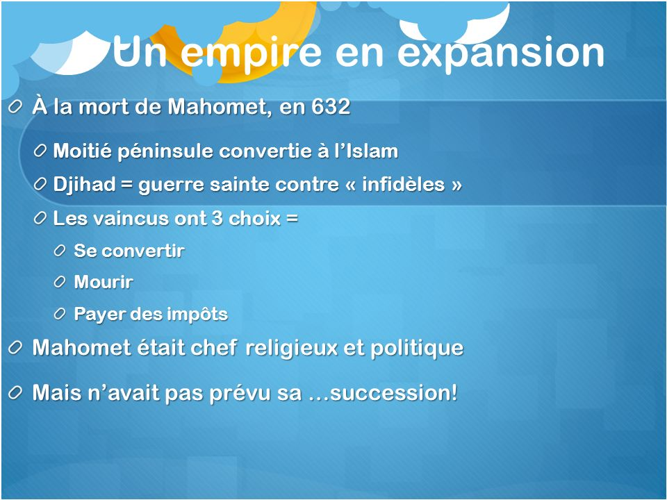 Un empire en expansion À la mort de Mahomet, en 632