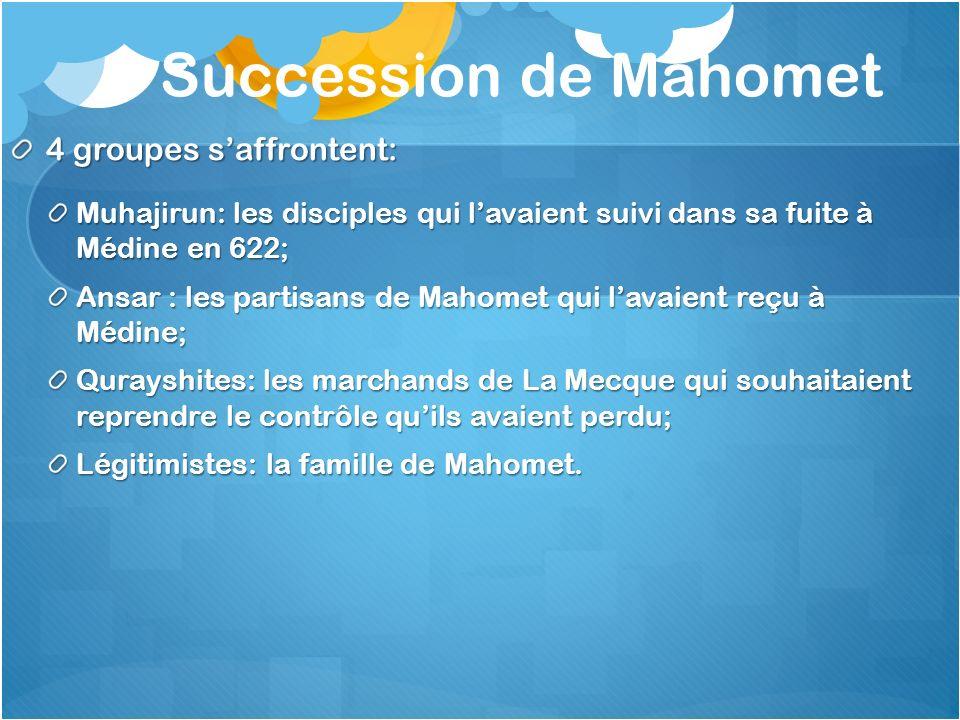 Succession de Mahomet 4 groupes s'affrontent: