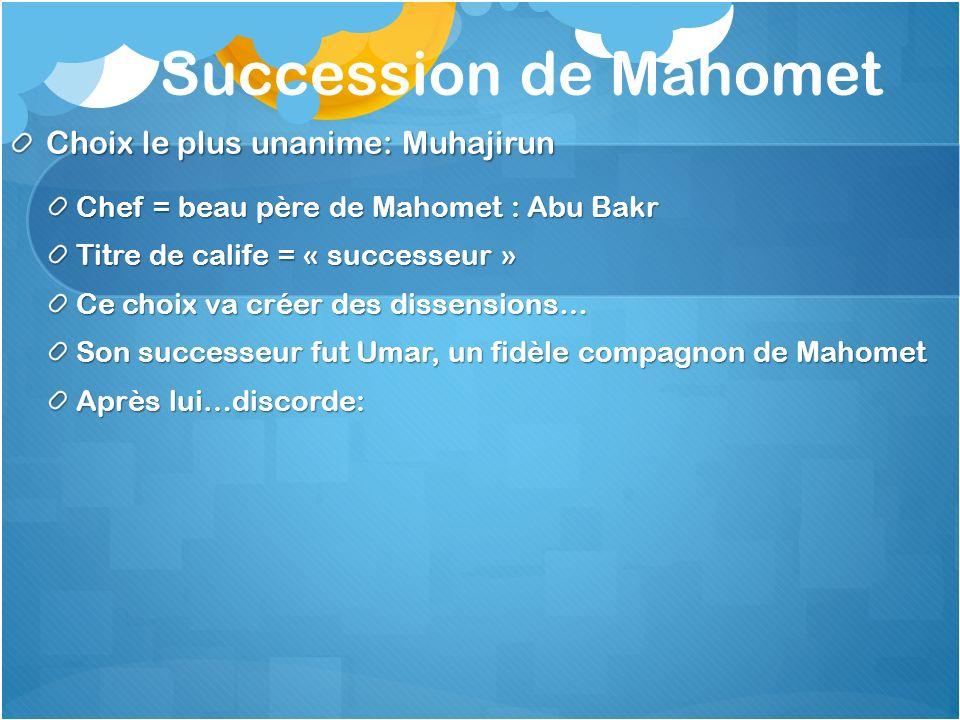 Succession de Mahomet Choix le plus unanime: Muhajirun