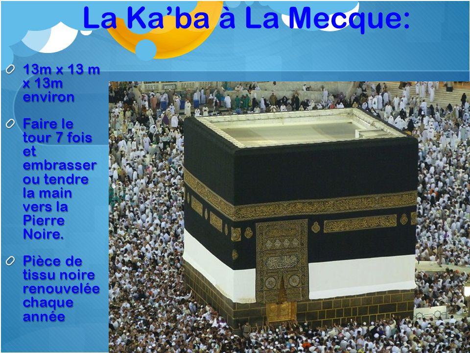 La Ka'ba à La Mecque: 13m x 13 m x 13m environ
