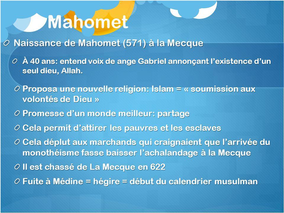 Mahomet Naissance de Mahomet (571) à la Mecque