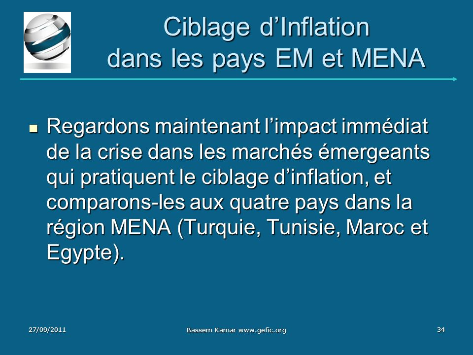 Ciblage d'Inflation dans les pays EM et MENA