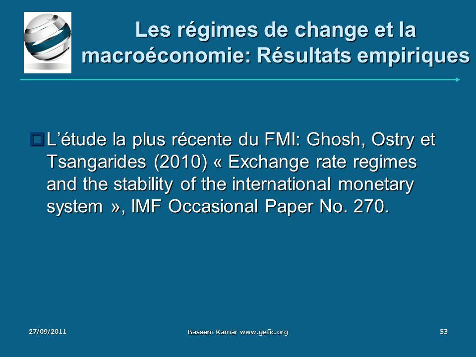 Les régimes de change et la macroéconomie: Résultats empiriques