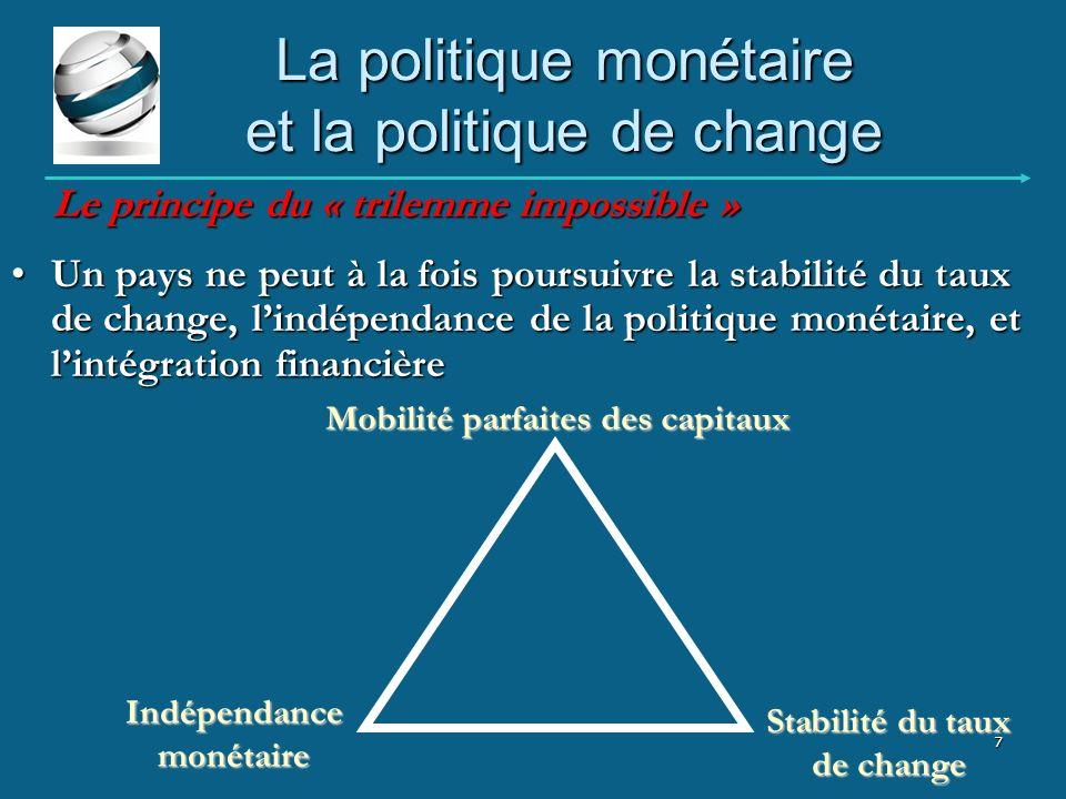 La politique monétaire et la politique de change