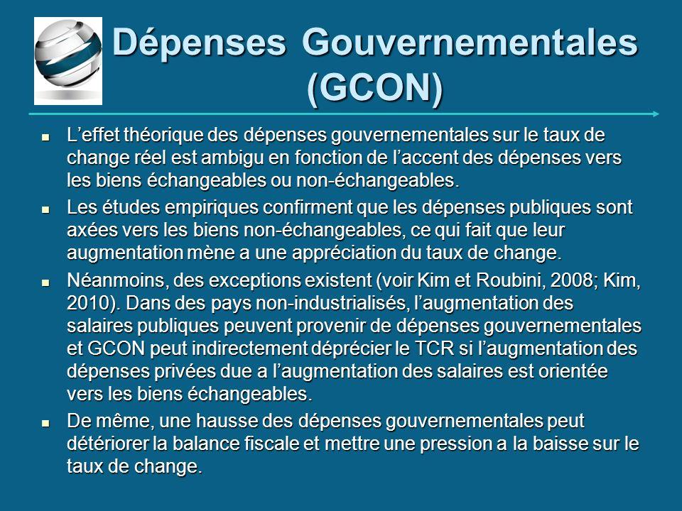 Dépenses Gouvernementales (GCON)