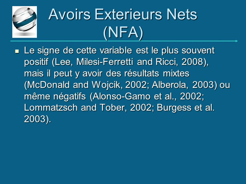 Avoirs Exterieurs Nets (NFA)