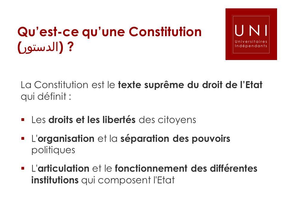 Qu'est-ce qu'une Constitution (الدستور)