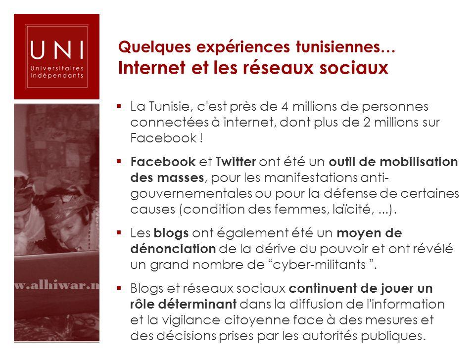 Quelques expériences tunisiennes… Internet et les réseaux sociaux