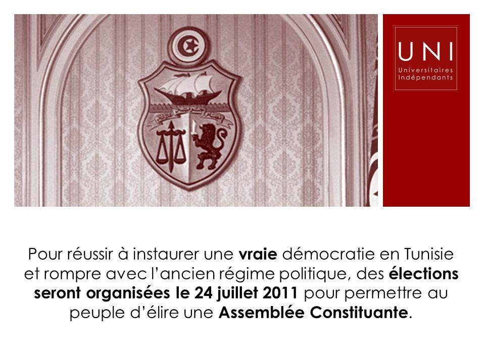 Pour réussir à instaurer une vraie démocratie en Tunisie et rompre avec l'ancien régime politique, des élections seront organisées le 24 juillet 2011 pour permettre au peuple d'élire une Assemblée Constituante.