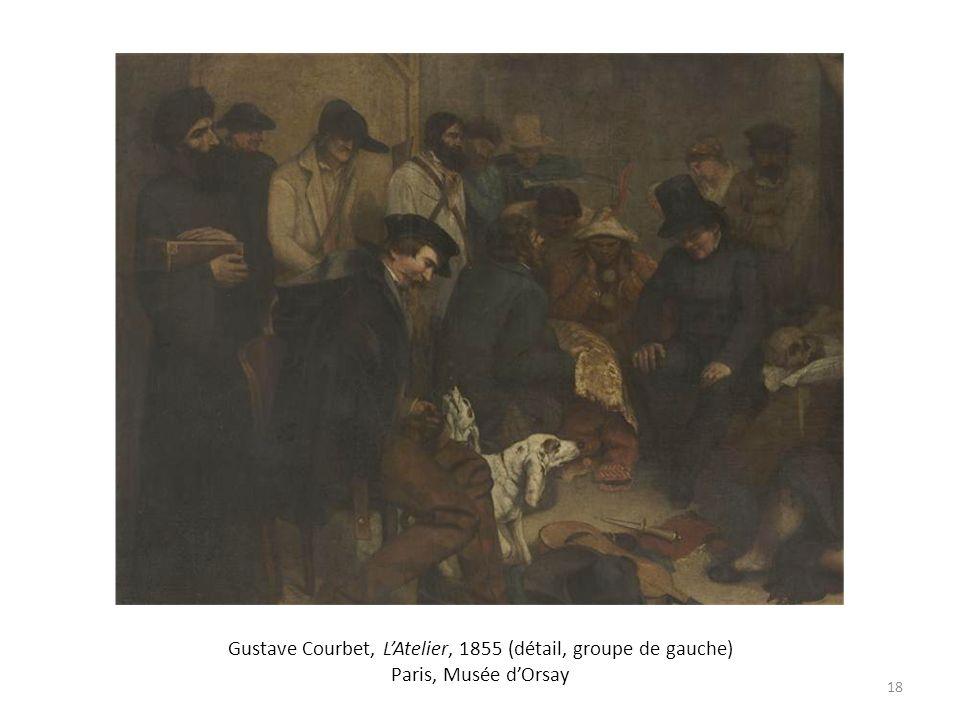 Gustave Courbet, L'Atelier, 1855 (détail, groupe de gauche) Paris, Musée d'Orsay