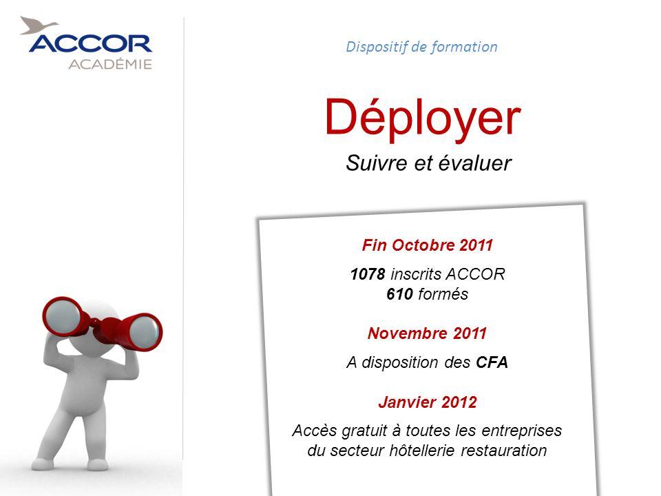 Déployer Suivre et évaluer Dispositif de formation Fin Octobre 2011