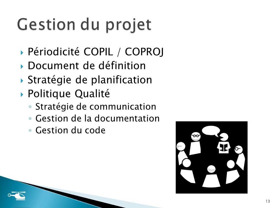 Gestion du projet Périodicité COPIL / COPROJ Document de définition
