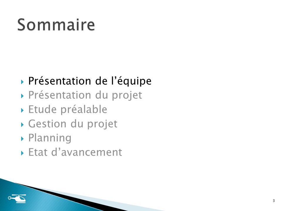 Sommaire Présentation de l'équipe Présentation du projet